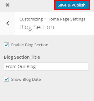Blog section setting