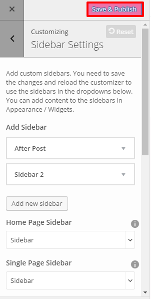 Sidebar Settings- EPP