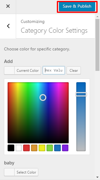 Category Color Settings