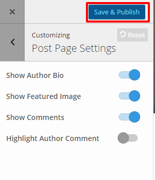 Post Page Settings