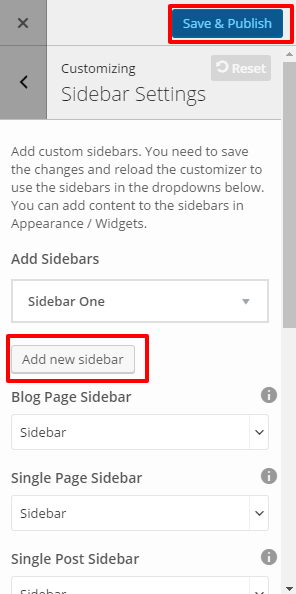 Sidebar Settings- BOP