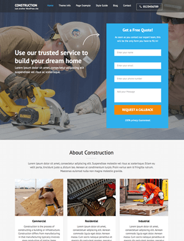 Construction landing page pro WordPress theme