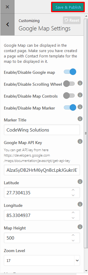 google-map-settings