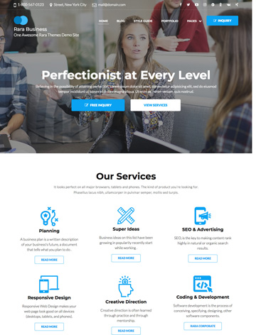 Rara Business free WordPress Theme