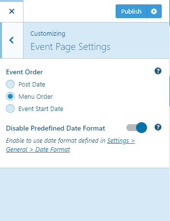 Event Page Settings Education zone pro