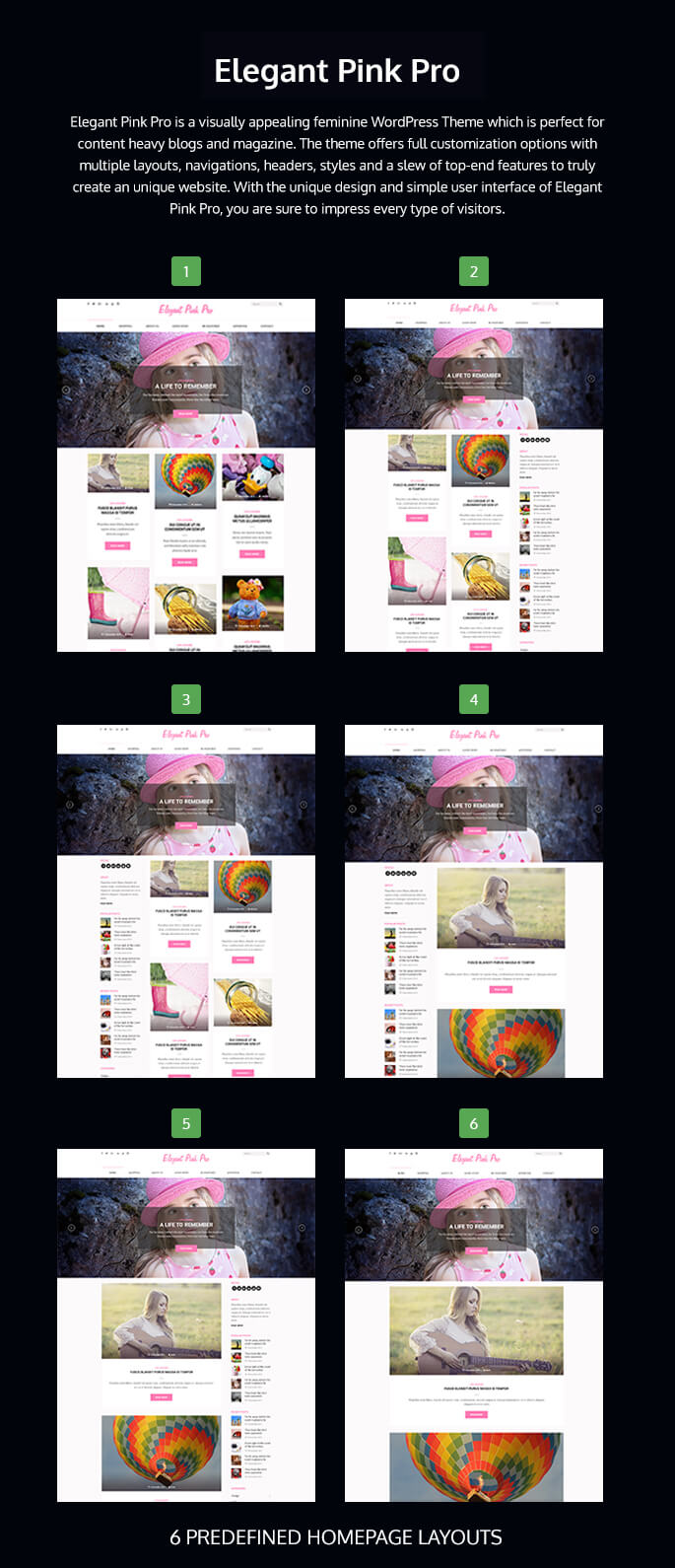 homepage layout of Elegant pink pro