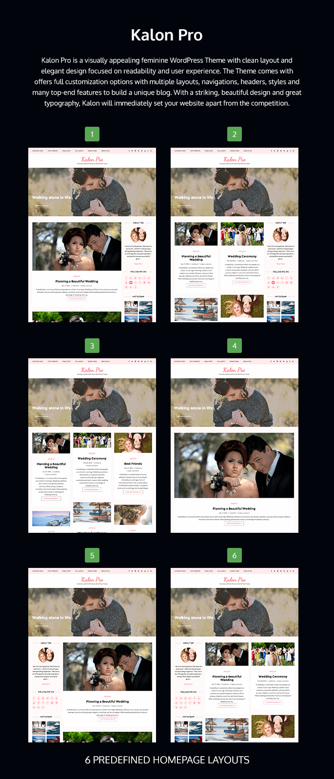 homepage layout of Kalon Pro
