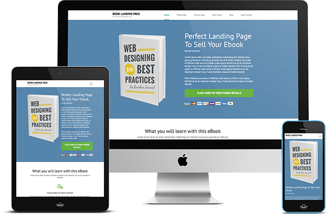 Book Landing Page EBook Landing Page Free WordPress Theme - Wordpress landing page template