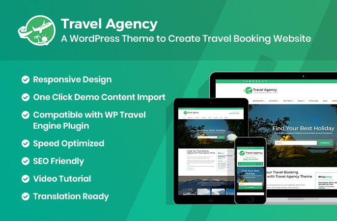 Travel Agency Free WordPress Theme For Travel Booking