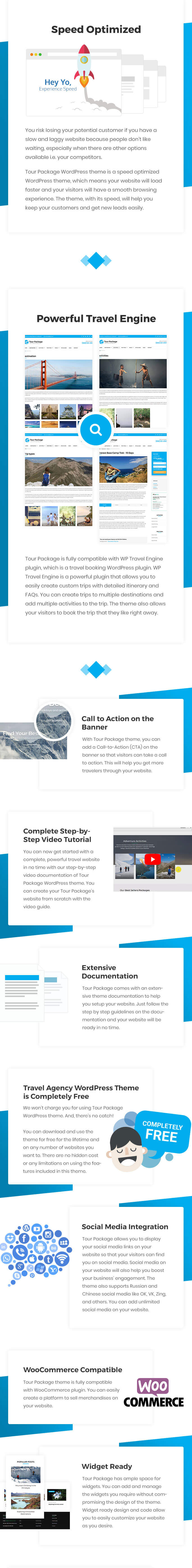 Features of Tour Package WordPress