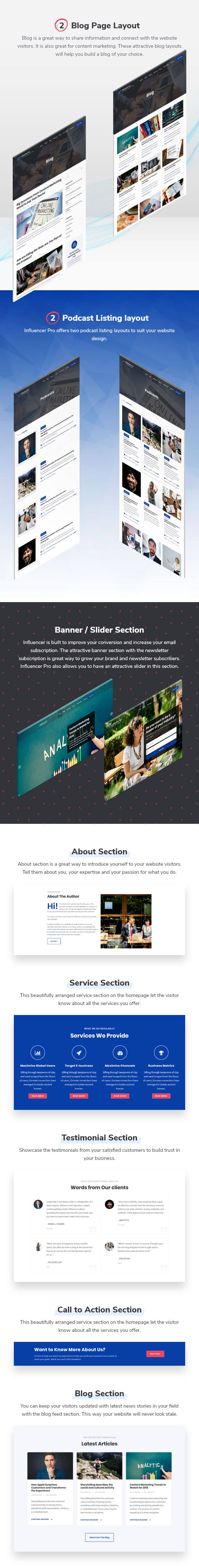 features of Influencer WordPress Theme