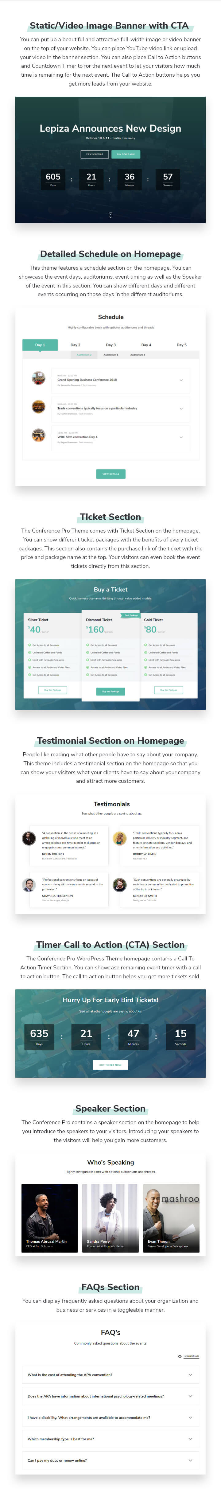 Features of Conference WordPress Theme
