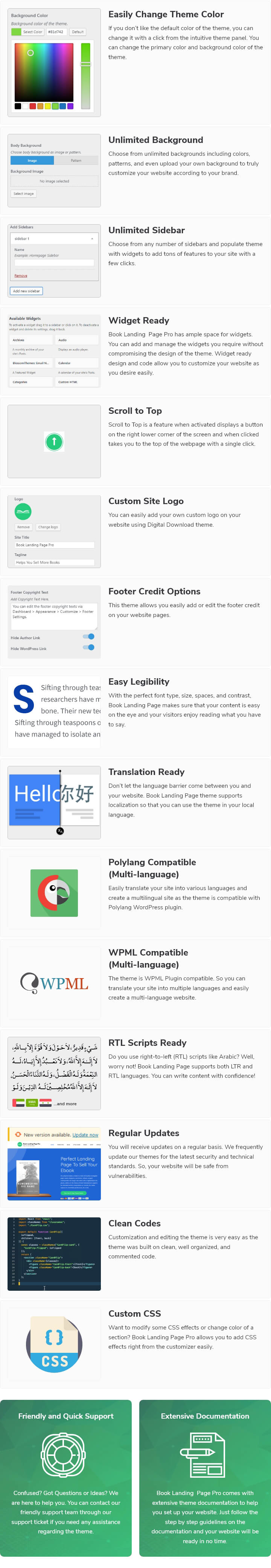 features of Book Landing Page WordPress Theme
