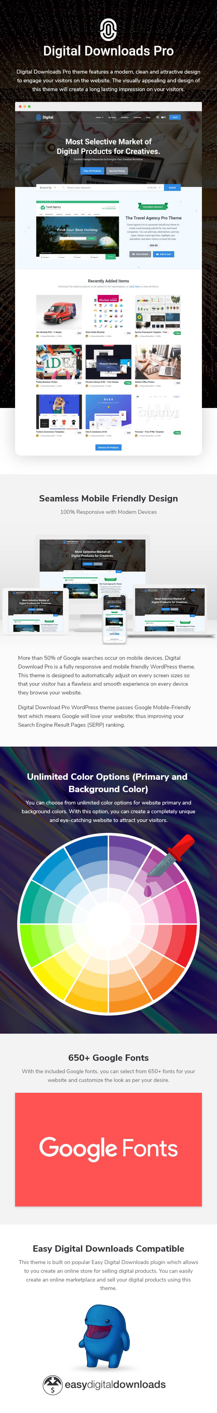 features of Digital Download WordPress Theme
