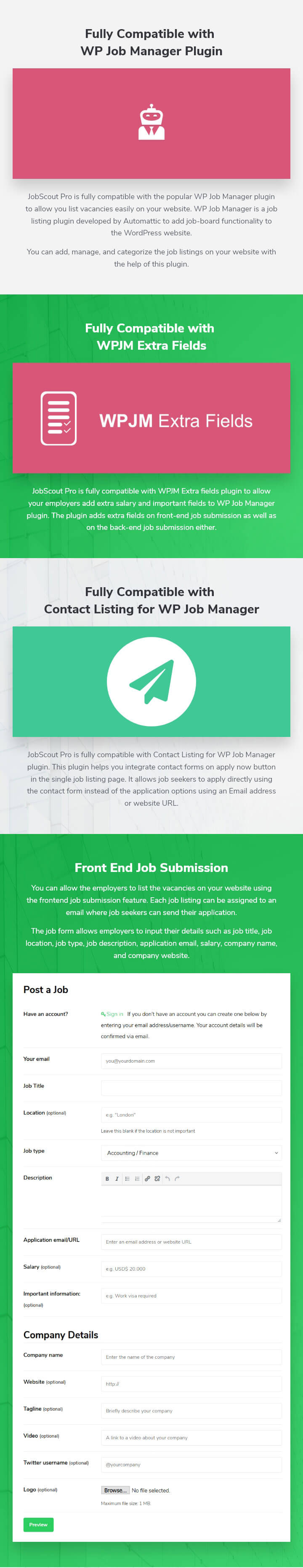 features of JobScout WordPress Theme