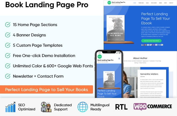 sales banner of Book Landing Page Pro WordPress Theme