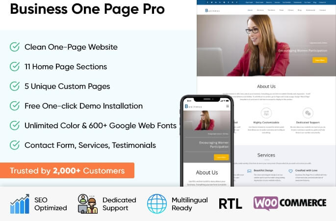 sales banner of business one page Pro WordPress Theme