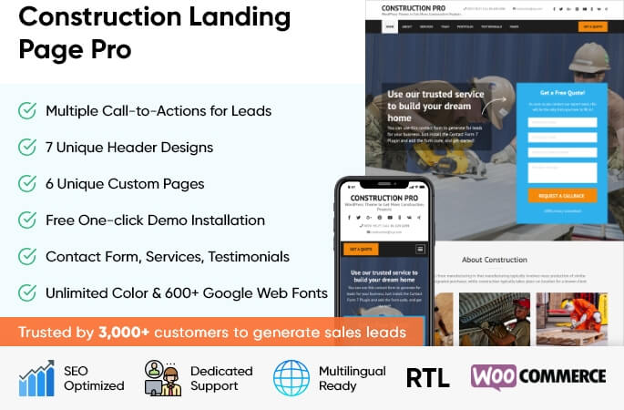 sales banner of Construction Landing Page Pro WordPress Theme