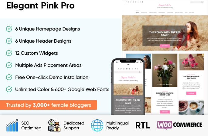 sales banner of Elegant Pink Pro WordPress Theme