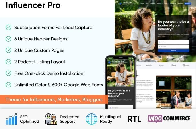 sales banner of Influencer Pro WordPress Theme