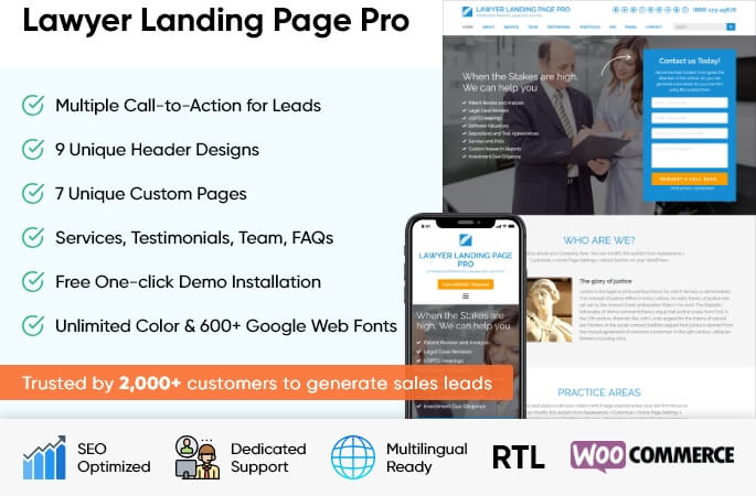 sales banner of Lawyer Landing Page Pro WordPress Theme
