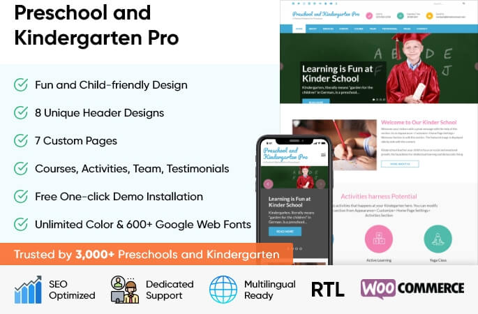 sales banner of preschool and kindergarten Pro WordPress Theme