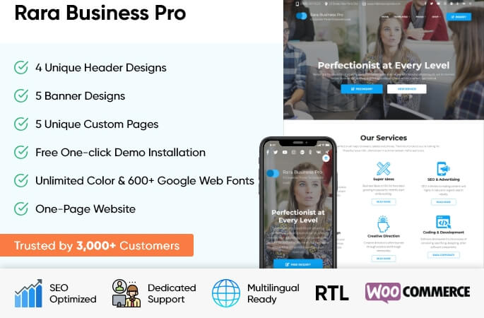 sales banner of Rara Business Pro WordPress Theme