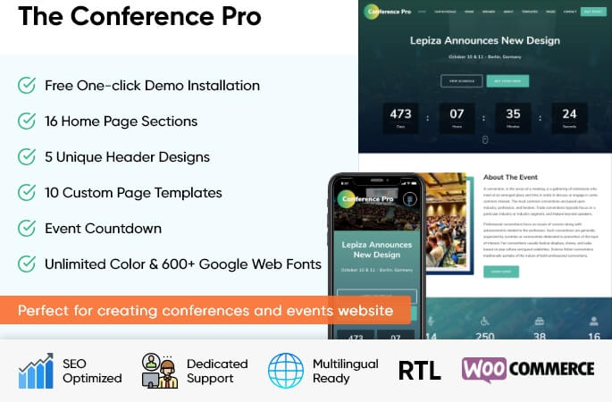 sales banner of the Conference Pro WordPress Theme