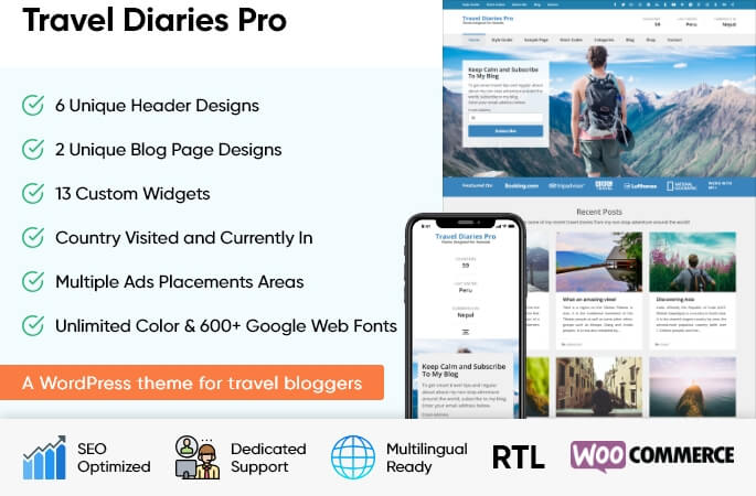 sales banner of Travel Diaries WordPress Theme