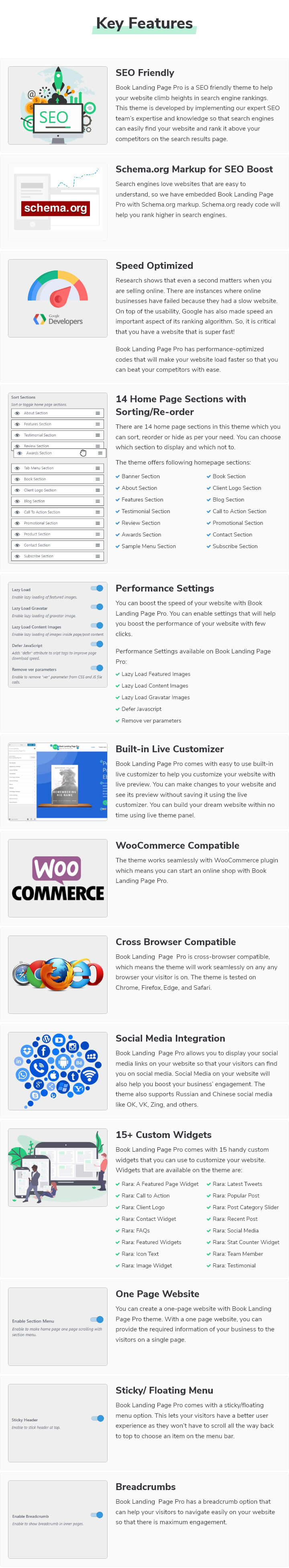 Features of Book Landing Page Pro WordPress Theme