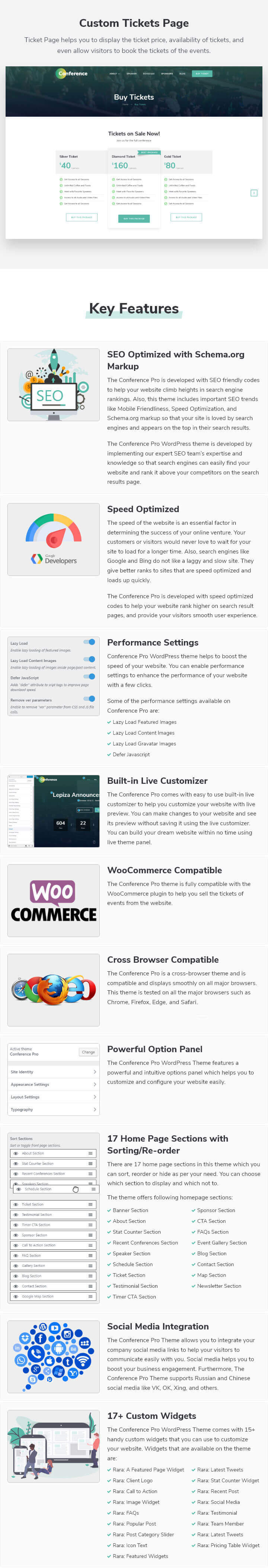 Features of Conference Pro WordPress Theme