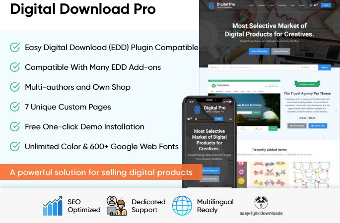 sales page of Digital Download Pro WordPress Theme