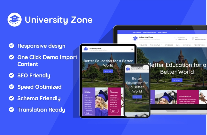 Sales Pages of University Zone WordPress Theme