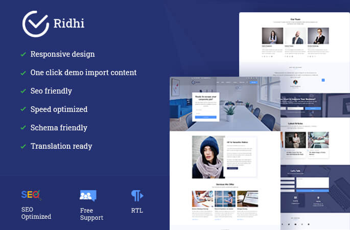 Ridhi WordPress Theme sales banner